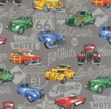 Nutex Hot Rods Cars Fabric - Vintage American Cars
